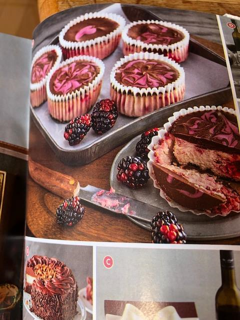 Heavily reverted blackberries depicted in high end holiday retail catalog.