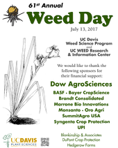 Weed Day 2017 poster listing sponsors