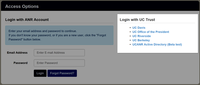 Location of UC Trust and ANR logins