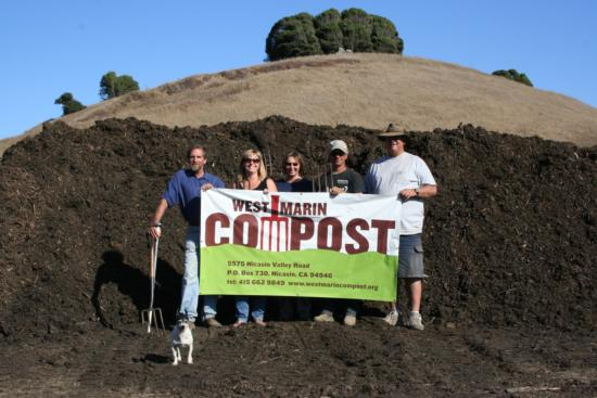 Jeff Creque, Erika Hughes, Loretta Murphy, Kevin Lunny and Joe Lunny gather for a photograph at the opening of the West Marin Compost Project.