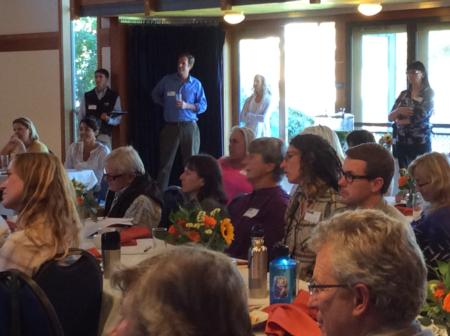Attendees listen to Ralph Grossi recount key moments in Marin's agricultural history