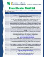 Project Leader Checklist