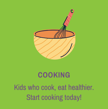 Button to get to more resources for cooking with kids
