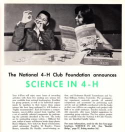 Shaffer, E. (ed). (1964, December). The national 4-H club foundation announces science in 4-H. National 4-H News, 42(12), 26-27.