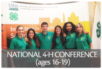 National 4-H Conference is the pinnacle experience in 4-H Citizenship, providing the opportunity for young people to connect, learn, engage, lead and