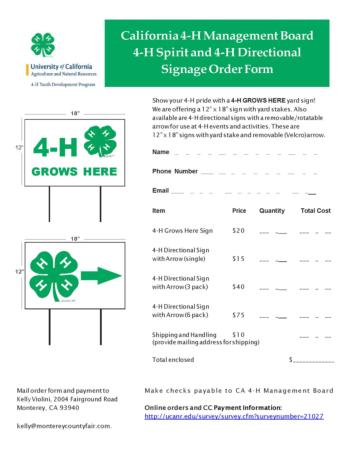 Image of order form for 4-H Grows Here signs
