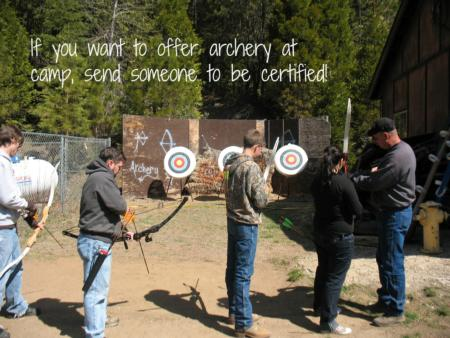 If you want to offer archery at camp, send someone to be certified!
