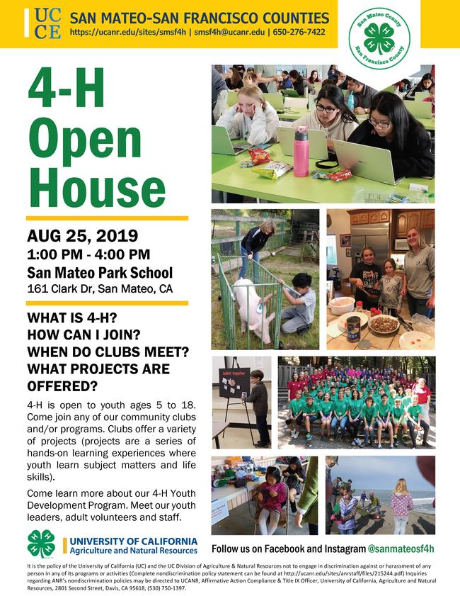 Please join us to learn about 4-H, how you can join, when clubs meet, and what projects and programs are offered. Everyone is welcome!