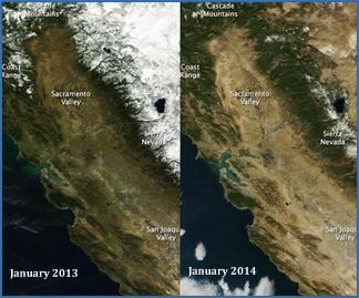 Snow cover in California between 2013 and 2014