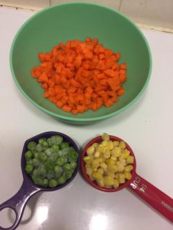 1 medium carrot (peeled and diced), 1/4 cup peas, 1/4 cup corn