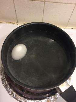 Boil 1 egg for 12 minutes. When done, remove from pot.