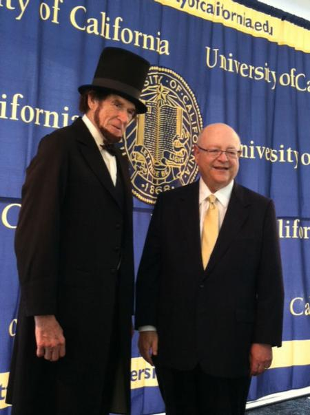 Abraham Lincoln, portrayed by Sonoma County teacher Roger Vincent, and UC President Mark Yudof.