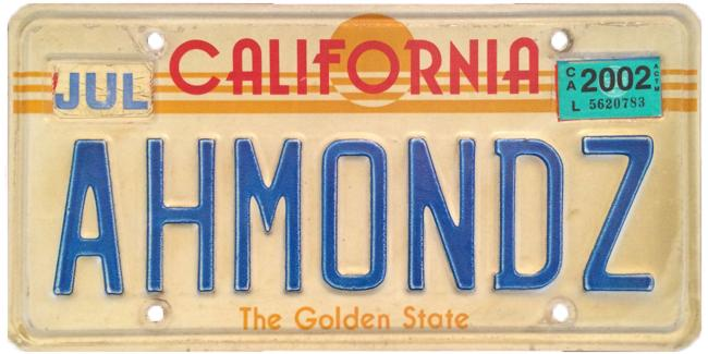 Photo contributed by Nathanael Siemens, almond farmer in the Bakersfield area. This was his grandfather Ernest Siemens' license plate.