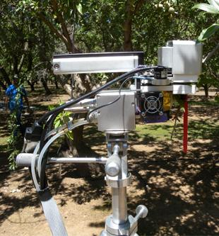 Li cor 6400 leaf chamber to measure gas exchange installed in an almond tree.