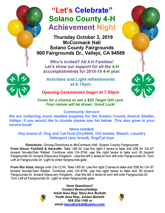 Achievement Night Invitation 2019