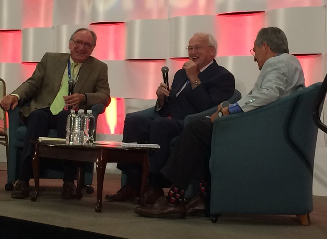 From left, Tom Harkin, Kevin Concannon and Ken Hecht discuss federal nutrition assistance programs.