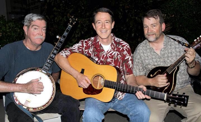 Coats, right, plays mandolin with the New Lost City Studebakers.