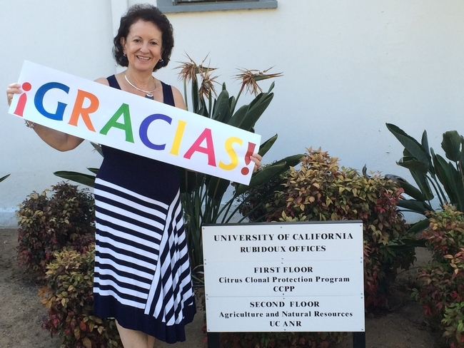 Myriam Grajales-Hall says 'thanks' to the University of California for a rewarding 34-year career.