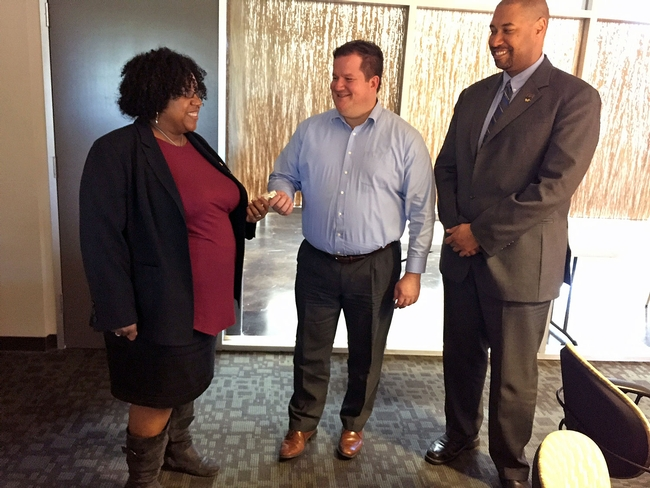 UC ANR chief innovation officer Gabe Youtsey with LaWana Richmond, left, and Jason Valdry, right.