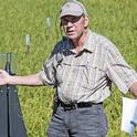Larry Godfrey spoke at the Rice Field Day in 2016. Godfrey was widely known for his research on applied insect ecology and integrated pest management strategies. Photo by Evett Kilmartin