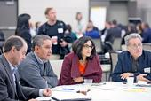 In a working session, AgPlus Funders Forum participants split into groups to focus on identifying opportunities for supporting economic development, supporting small business, effective intermediaries and regional finance funds.