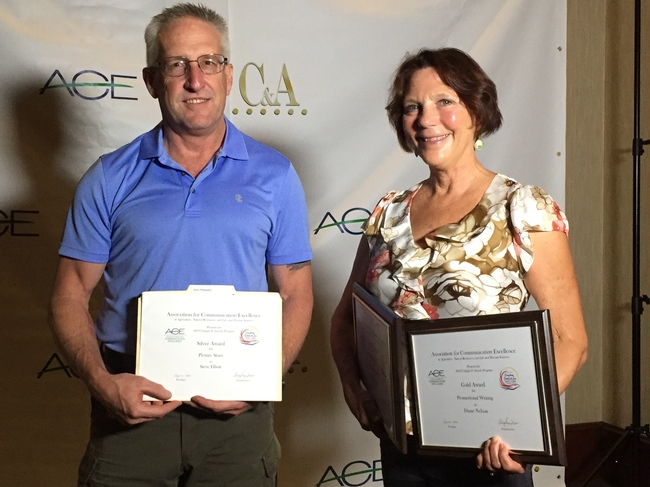 Steve Elliot, left, of the Western IPM Center, and Diane Nelson the UC Davis College of Agricultural and Environmental Sciences won multiple communications awards.