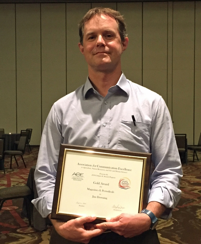 Jim Downing picked up an ACE gold award for California Agriculture journal.