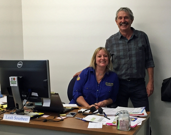 Mark Bell popped into the office of Leah Sourbeer, nutrition program supervisor, to introduce himself