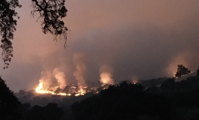 River Fire burning at Hopland Research and Extension Center in July 2018.