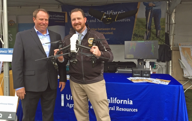 Sean Hogan, IGIS academic coordinator, talks drones with Assemblymember Devon Mathis.