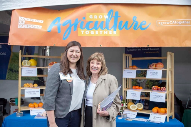 Mueller welcomed Karen Ross, secretary of the California Department of Food and Agriculture, to the UC ANR booth at Ag Day at the Capitol.