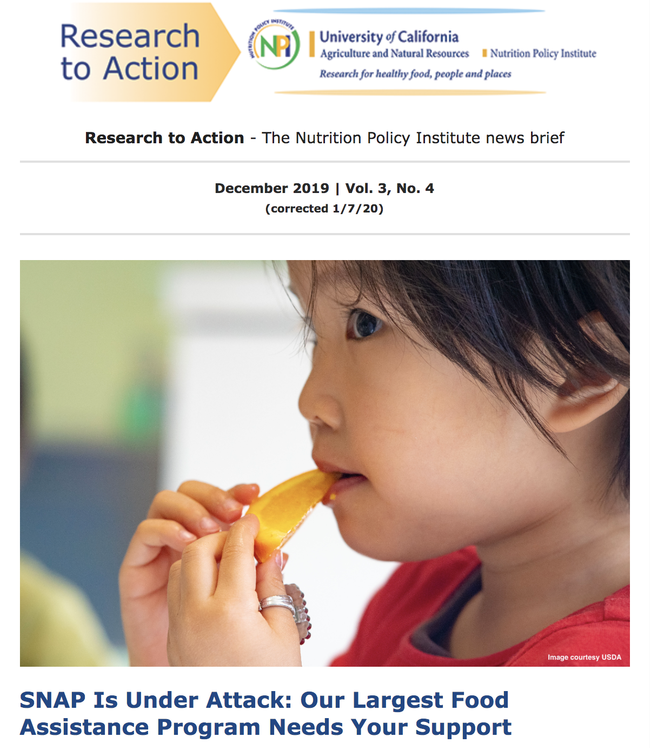 The Nutrition Policy Institute's Research to Action newsletter makes supporters feel really good about the work NPI is doing.