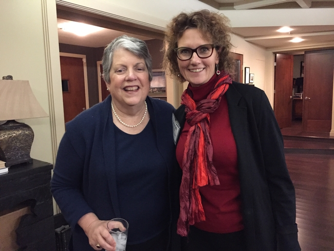 Kathryn Uhrich, dean of UCR College of Natural and Agricultural Sciences, right, visited with Napolitano.