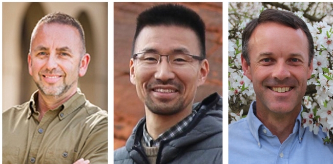 From left, Mark Hoddle, Dong-Hwan Choe and David Haviland received CDFA grants for research on pest control alternatives to the banned pesticide chlorpyrifos.