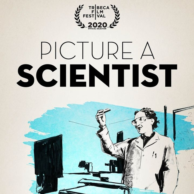 Image of a woman scientist in a lab coat.