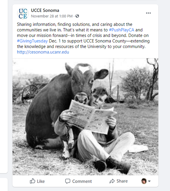 Giving Tuesday 2020 Outstanding Post by UCCE Sonoma.