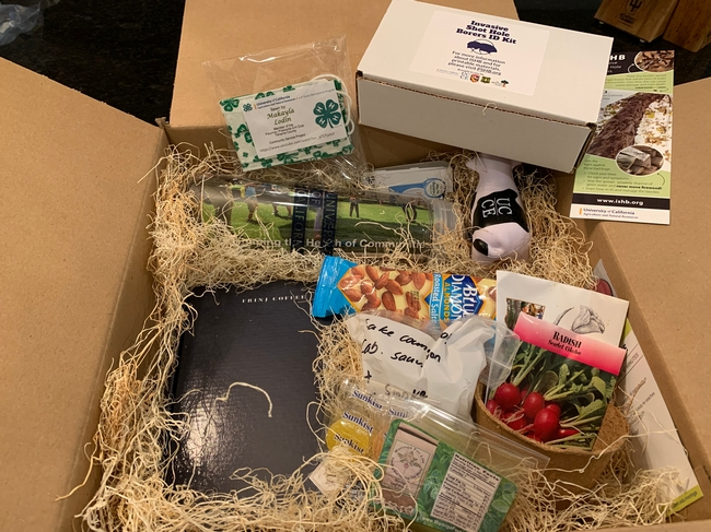 Learning boxes containing samples of almonds, smoke-tainted wine, moringa powder, California-grown coffee and many other items related to the presentations gave tour participants a more interactive experience.