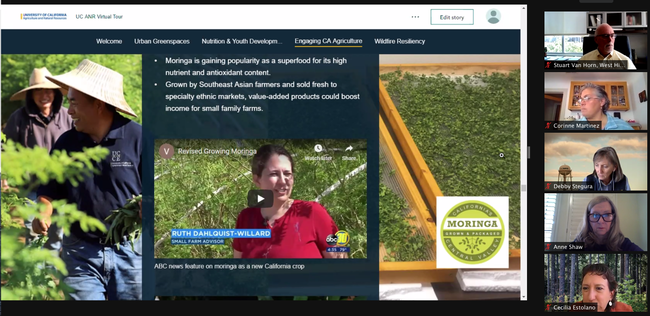 Ruth Dahlquist-Willard took the regents into a moringa field via video embedded in the story map.