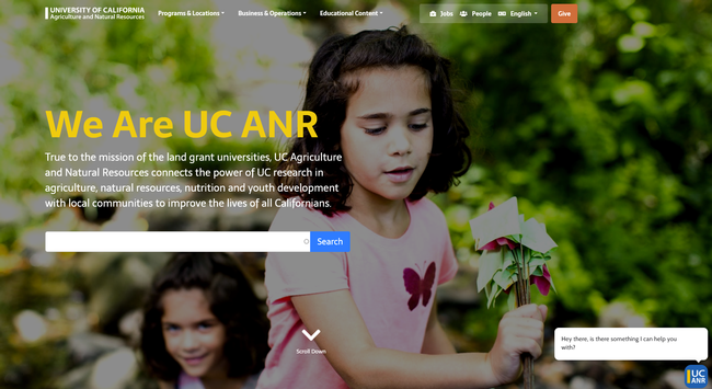 Example of UC ANR's new web interface .