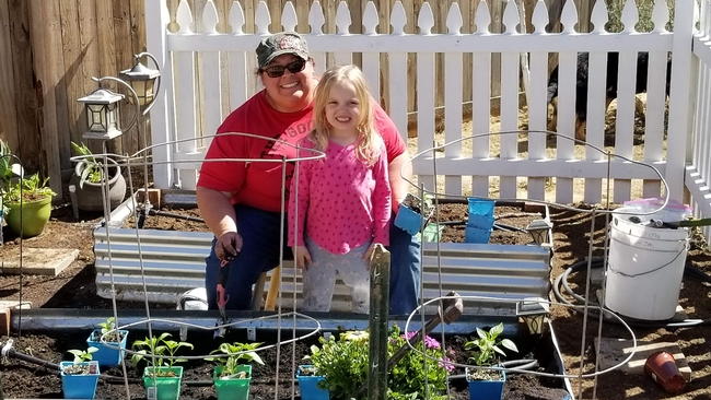 Stephanie Rill and her daughter tended the garden together.