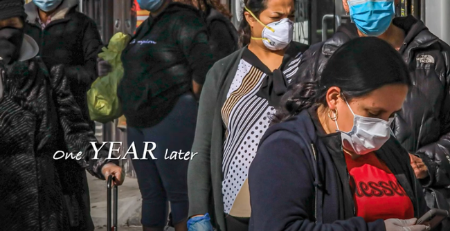 Photo of strangers wearing facemasks on the street. Text reads: One year later.