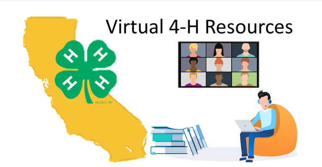 Virtual 4-H Resources. Picture of California map, 4-H clover logo, books, animated Zoom screen image and person wearing headphones sitting in an armchair working on a laptop.