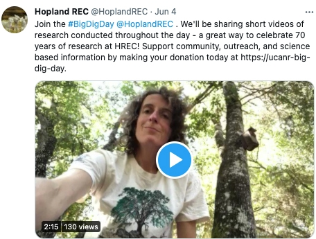 Hopland REC was recognized for its Big Dig Twitter campaign.