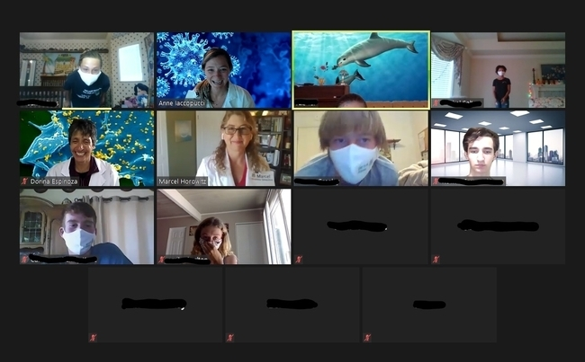 4-H advisors and 4-H youth wearing face masks shown in Zoom gallery view.