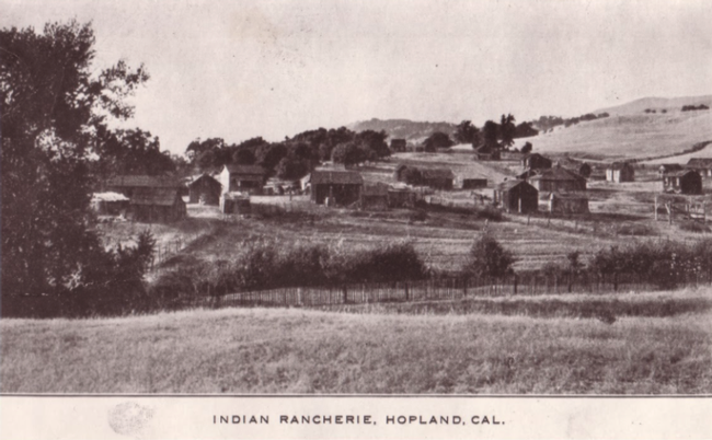 First Indian rancheria in Hopland. Photo courtesy of Mendocino County Historical Society