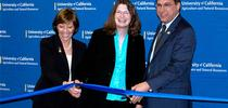 From left, California Department of Food and Agriculture secretary Karen Ross, UC ANR VP Barbara Allen-Diaz and Davis Mayor Joe Krovoza cut the ribbon to new building. for ANR news releases Blog