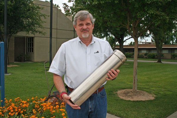 Jeff Dahlberg, director of the UC Kearney Research and Extension Center, with the time capsule that will be buried May 26.