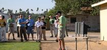 UC ANR turfgrass specialist Jim Baird speaks at a previous turfgrass and landscape field day. for ANR news releases Blog