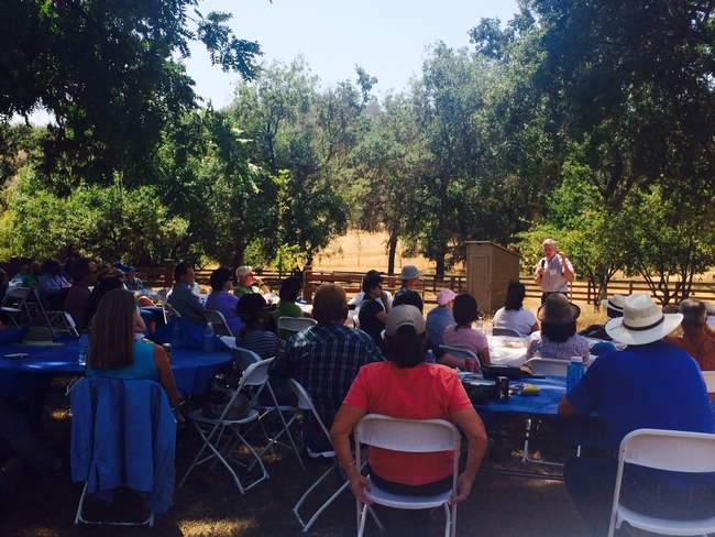 Bill Frost, ANR associate vice president, speaking to a group of recently hired UC Cooperative Extension academics at Chrisman Ranch.