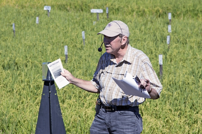 Larry Godfrey, UC Cooperative Extension entomology specialist, spoke about insect control in rice at the Rice Field Day in August.